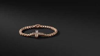 David Yurman Pave Cross Bracelet With Cognac Diamonds In 18K Rose Gold