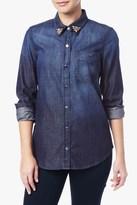7 For All Mankind Slim Boyfriend Shirt With Crystals In Dark Vista Blue