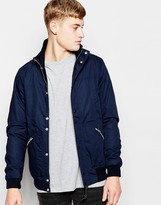 Pull&bear Lightweight Jacket With Funnel Neck And Zip Detailing - Navy