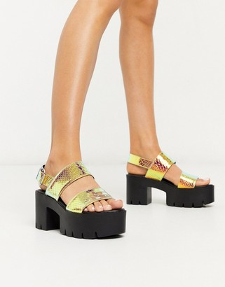 Truffle Collection chunky platform heeled sandals in irredescent