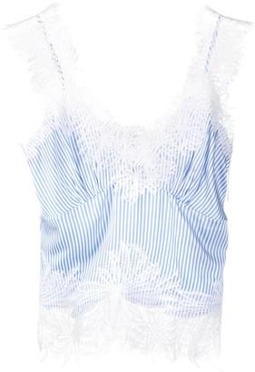 Ermanno Scervino Lace Embroidered Striped Top