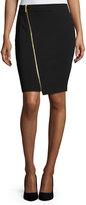 MICHAEL Michael Kors Asymmetric-Zip Pencil Skirt, Black