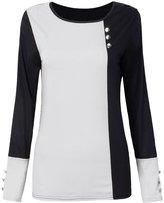 Buckdirect Worldwide Ltd. Casual Button Color Block Long Sleeve Round Neck Women Cotton T-Shirt