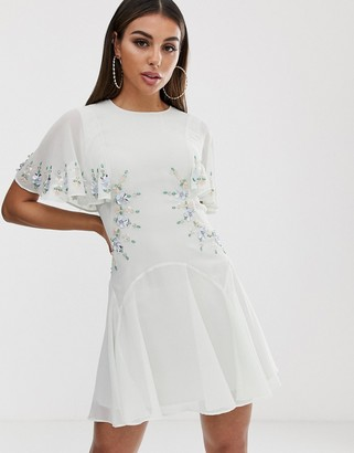 Asos DESIGN embellished cut out mini skater dress