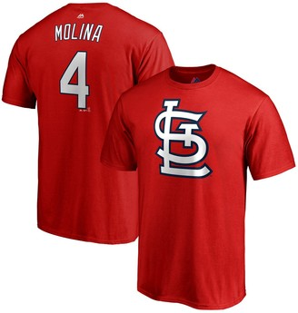 Majestic Men's Yadier Molina Red St. Louis Cardinals Double Play Cap Logo Name & Number T-Shirt