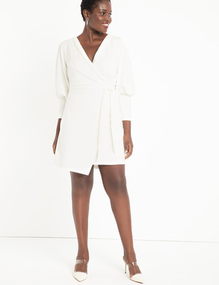 ELOQUII Wrap Dress with Puff Sleeves