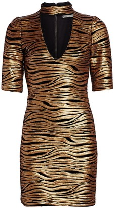 Alice + Olivia Inka Sequin Zebra Print Choker Mini Dress