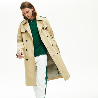 Lacoste Men's Long Belted Cotton Trench Coat