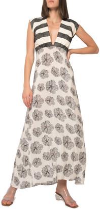 JALINE Charmie Mixed Print Cap-Sleeve Maxi Dress