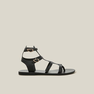 Ancient Greek Sandals Black Stephanie Vachetta Leather Sandals IT 36