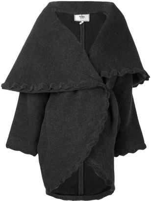 Fendi Pre-Owned scalloped trim wrap coat