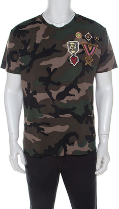 Valentino Khaki Green Camouflage Print Cotton Military Applique Detail T-Shirt L