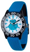 Sesame Street Boys' Black Plastic Time Teacher Watch - Blue