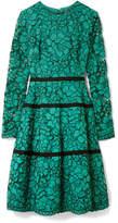Lela Rose Grosgrain-trimmed Corded Lace Dress - Jade