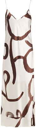 Lee Mathews Bella Printed Silk-satin Midi Slip Dress