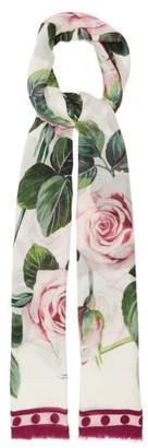 Dolce & Gabbana Rose-print Modal-blend Scarf - Womens - Pink White