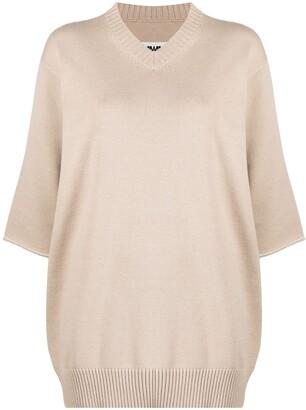 MM6 MAISON MARGIELA crop-sleeve V-neck jumper