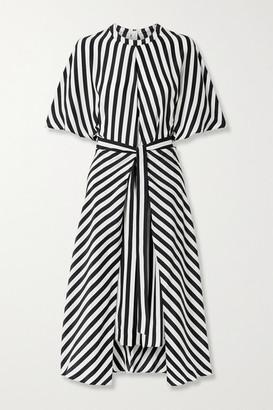 Stella McCartney Penelope Belted Striped Silk-satin Midi Dress - Black
