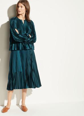 Mixed Chevron Pleated Skirt