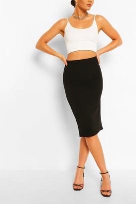 boohoo Tailored Elasticated Waist Midi Skirt