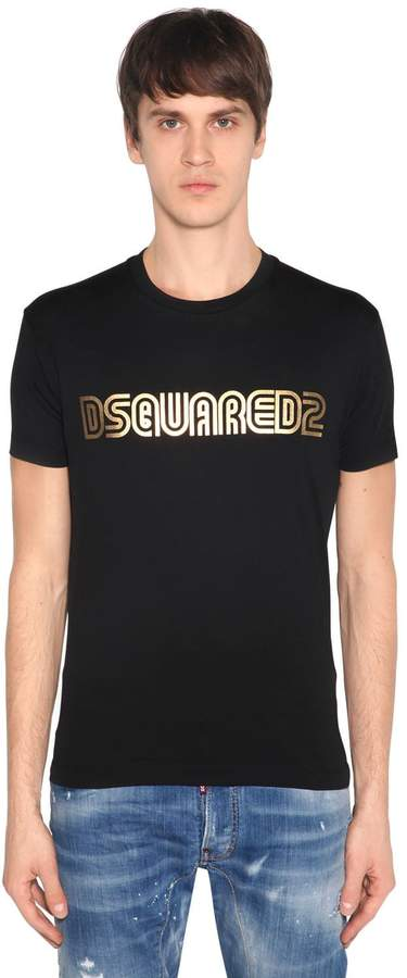 DSQUARED2 Metallic Logo Cotton Jersey T-Shirt