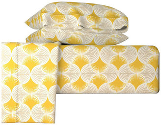 Roostery Tropical Geometry Yellow Yellow 4 Piece Sheet Set, Queen