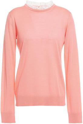 Claudie Pierlot Lace-trimmed Wool-blend Sweater