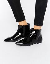 Vagabond Katlin Black Patent Leather Flat Boots