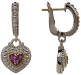 Judith Ripka Sterling Silver Pave Pink Sapphire Heart Drop Earrings