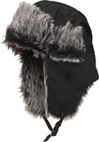 Kangaroo Poo Mens Faux Fur Lined Trapper Hat Black