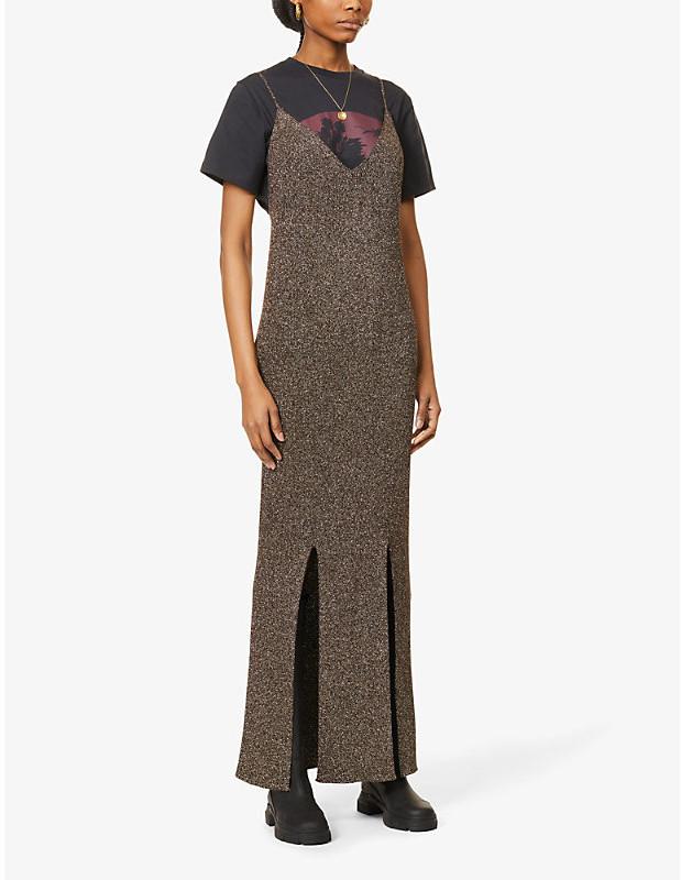 Ganni Metallic stretch-knit maxi dress