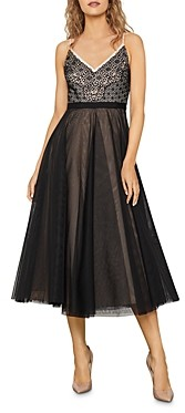 BCBGMAXAZRIA Eyelet-Bodice A-Line Midi Dress