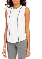 Kasper Sleeveless Tapered-Front Crepe De Chine Blouse