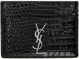 Saint Laurent Black Croc Monogram Card Holder