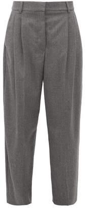 Stella McCartney High Rise Pleated Wool Flannel Trousers - Womens - Grey
