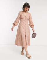 Asos Design DESIGN broderie button through midi tea dress in mink