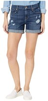 7 For All Mankind Relaxed Mid Roll Shorts in Broken Twill Plaza w/ Destroy (Broken Twill Plaza) Women's Shorts