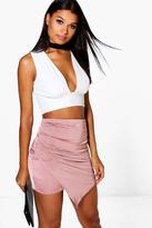 Boohoo Eeva Wrap Front Soft Touch Mini Skirt