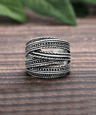 Willowbird Women's Rings Silver - Stainless Steel Oxidized Overlapping Multi-Strand Ring