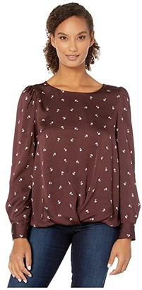 Vince Camuto Long Sleeve Scatter Ditsy Puff Shoulder Fold-Over Blouse (Port) Women's Clothing