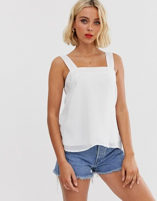 Pieces square neck textured cami top-White
