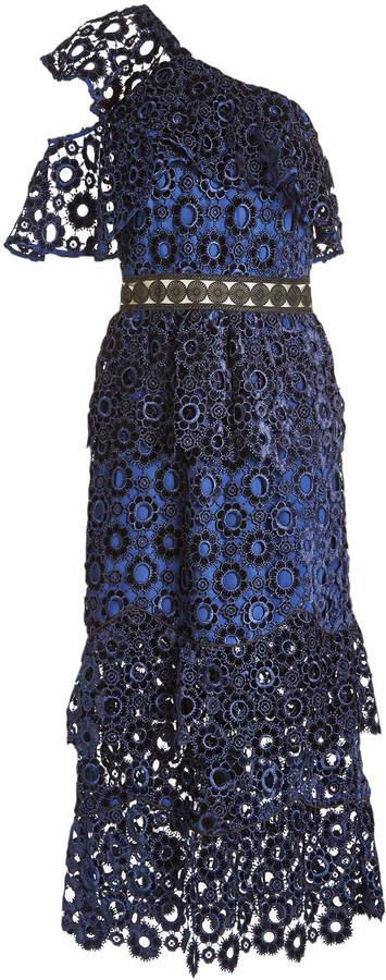 Self-Portrait Asymmetric Floral Lace Dress