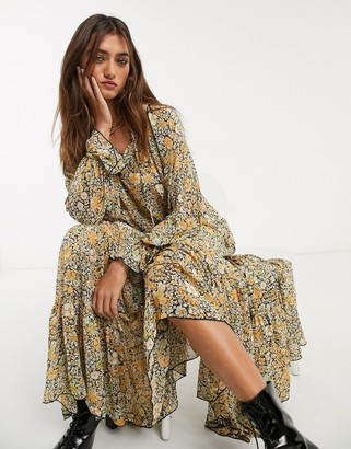 Free People feeling groovy floral midi dress in black combo
