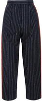Acne Studios Milli Cropped Pinstriped Wool-blend Twill Straight-leg Pants - Midnight blue