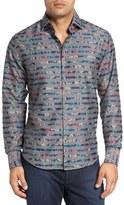 Stone Rose Slim Fit Floral Stripe Sport Shirt