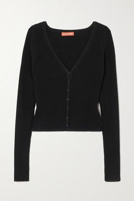 Altuzarra Eva Ribbed Stretch-knit Cardigan - Black
