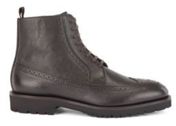 HUGO BOSS Lace-up boots in calf leather with brogue details