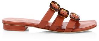 Cult Gaia Tallulah Tri-Strap Leather Slides