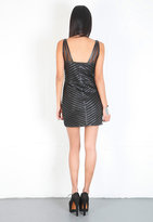 Parker Leather Mesh Panel Strappy Dress in Black