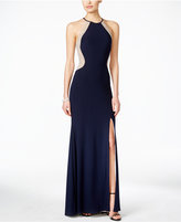 Xscape Evenings Dazzling Illusion Halter Gown